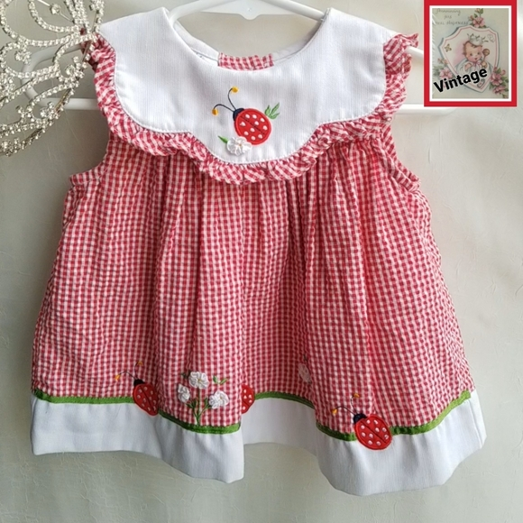 👑 Vintage Little Bitty 6-9m Dress Red & White